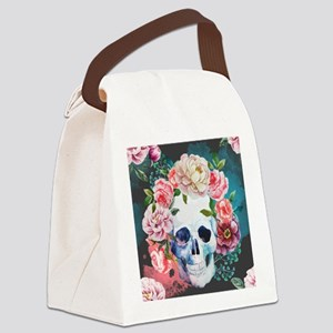 Flowers and Skull Canvas Lunch Bag